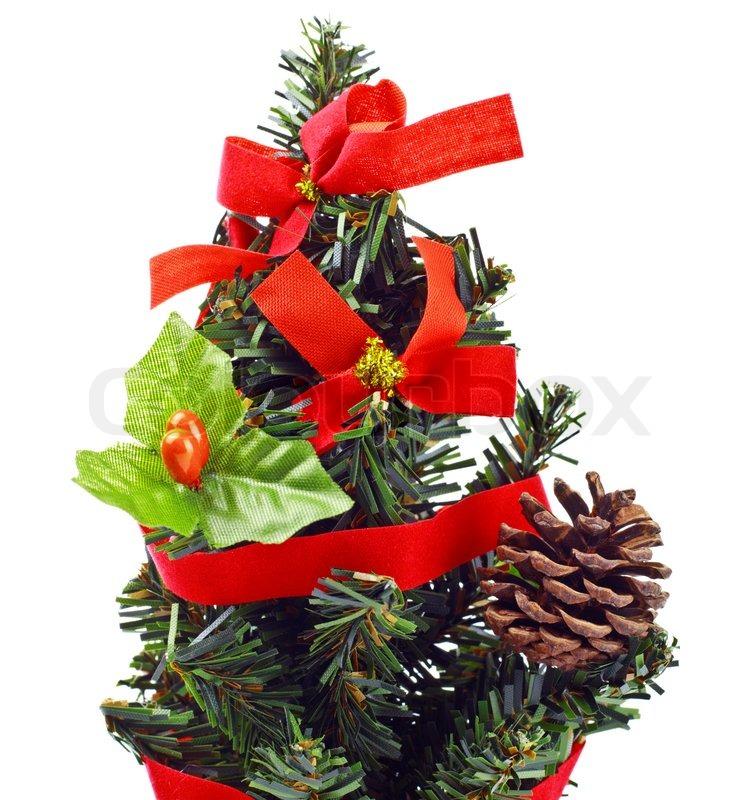 k nstlichen weihnachtsbaum auf wei em hintergrund stockfoto colourbox. Black Bedroom Furniture Sets. Home Design Ideas