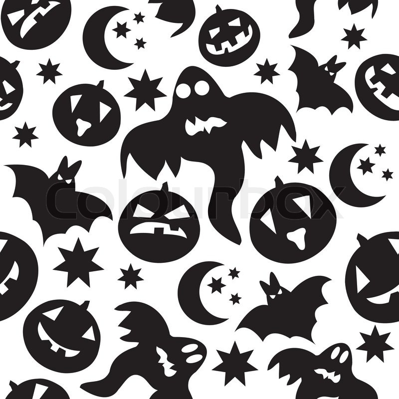 Seamless halloween pattern with black ghosts on white - Halloween black and white ...