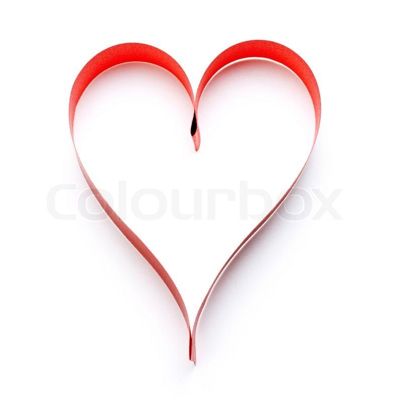 Heart Shaped Ribbon Symbol Isolated On White Stock Photo Colourbox