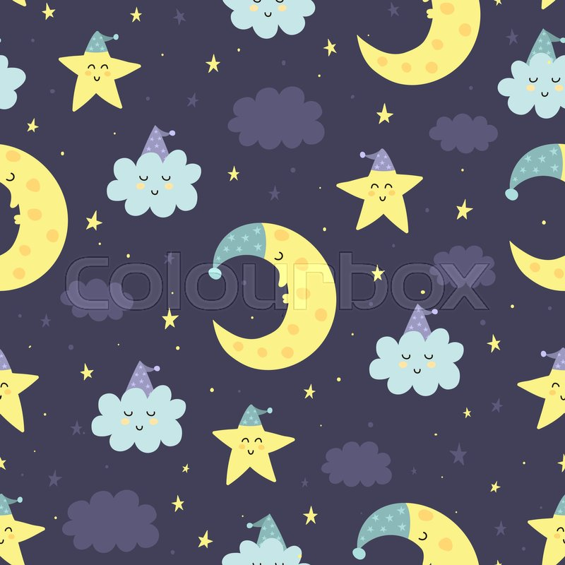 Good Night Seamless Pattern With Cute Sleeping Moon Stars And Clouds Sweet Dreams Background Vector Illustration