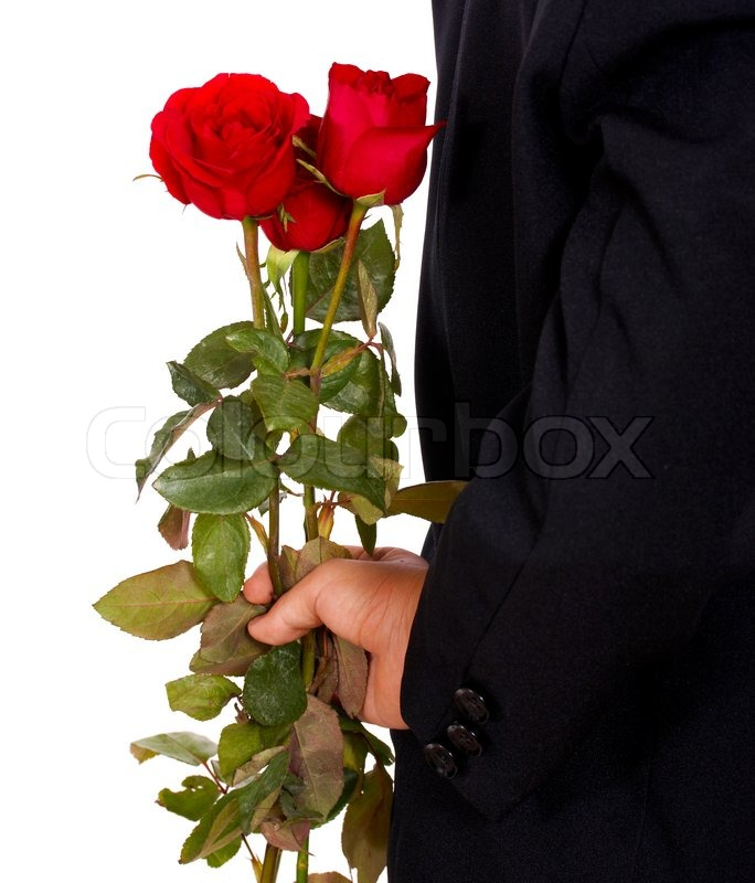 Giving Roses To His Wife As A Valentines Gift Stock
