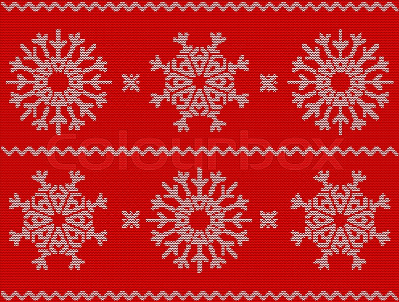Christmas pattern with snowflakes, new year ornament on red ...