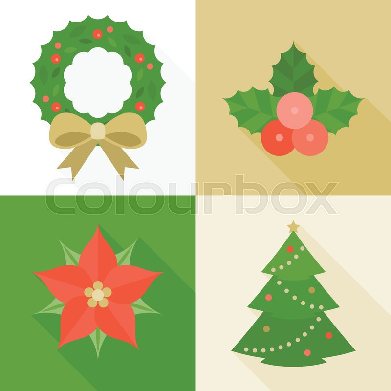 christmas ornament flat design with long shadow pine tree wreath mistletoe christmas flower vector