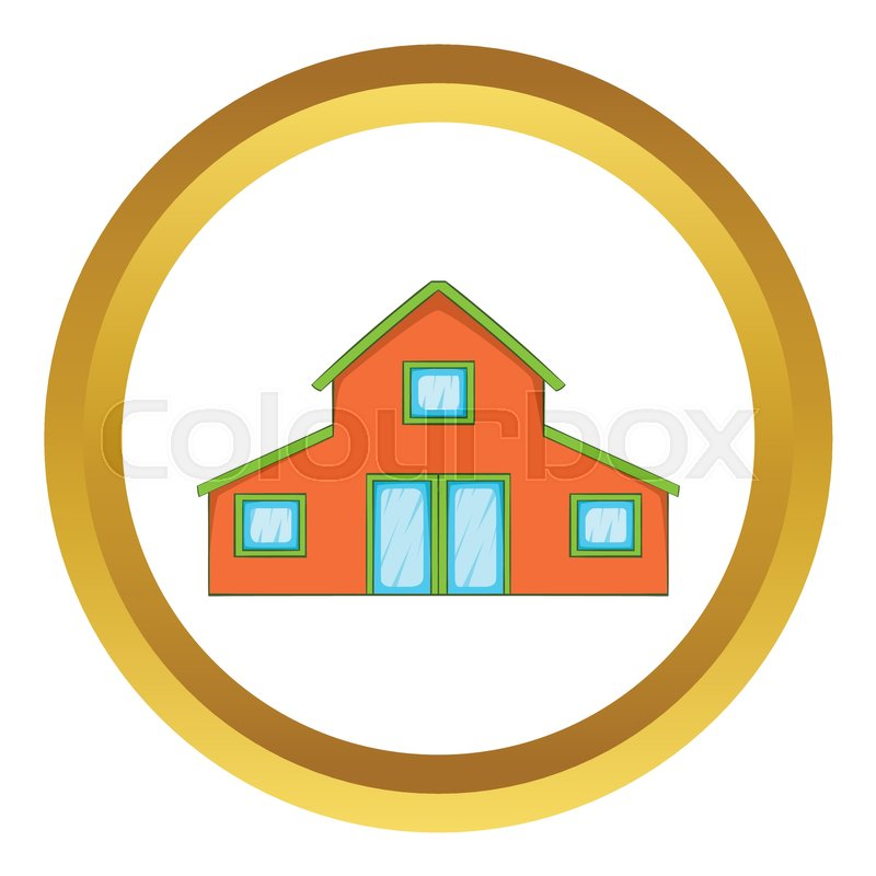 Little House Vector Icon In Golden Circle Cartoon Style Isolated On