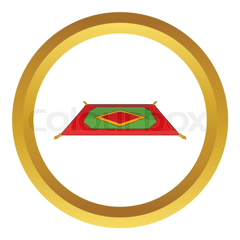 Stock Vector Of Traditional Turkish Carpet Icon In Golden Circle Cartoon Style Isolated