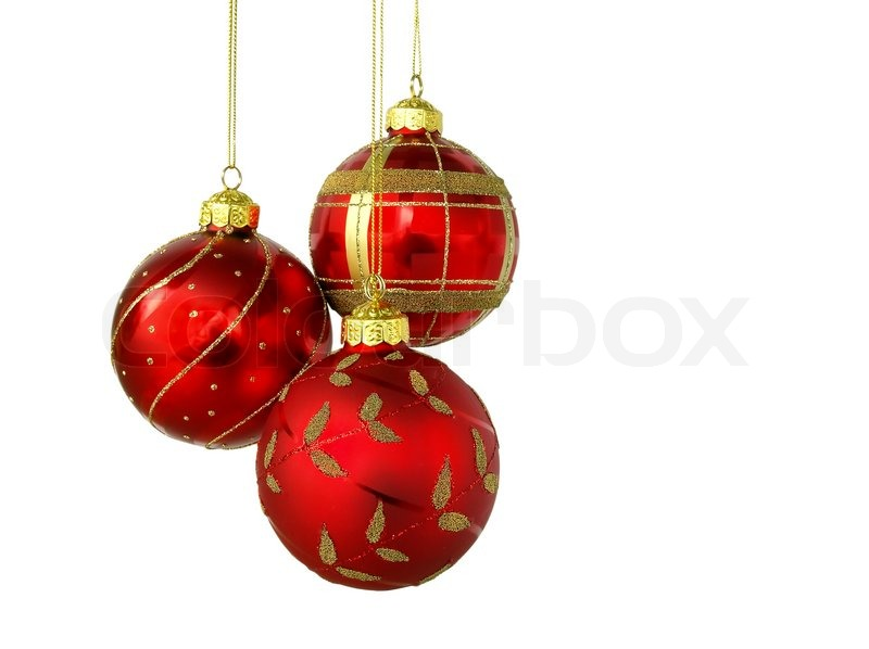 red christmas balls isolated on white background stock photo colourbox