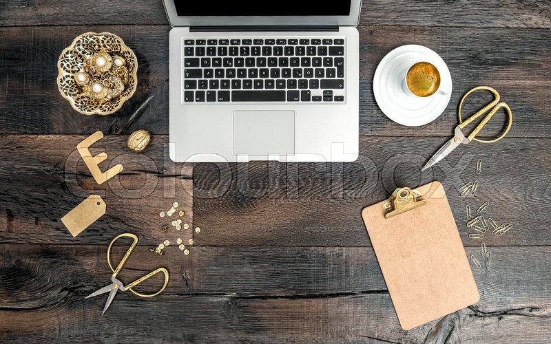 Nice Notebook And Golden Office Supplies. Flat Lay Office Desk Feminine  Workplace For Fashion Business Woman | Stock Photo | Colourbox
