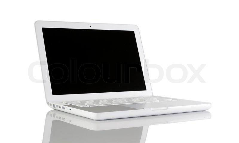 mit l fter laptop mit reflexion auf einem tisch stockfoto colourbox. Black Bedroom Furniture Sets. Home Design Ideas
