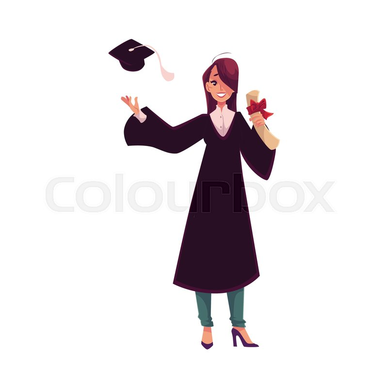 Female Student In Traditional Gown Throwing Her Cap And Holding Diploma Cartoon Style Illustration Isolated On White Background
