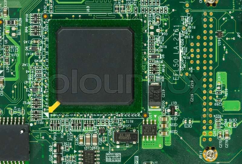 Face of mainboard and cpu chipset on macro - can use to display or montage on products, stock photo