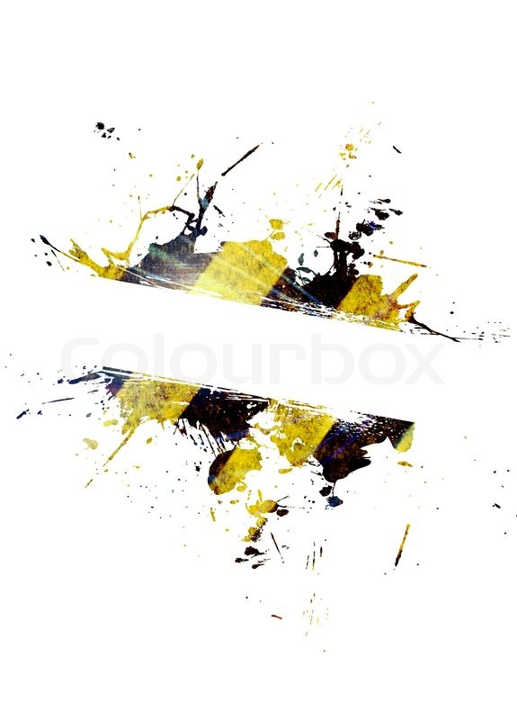 a hazard stripes paint splatter frame in black and yellow
