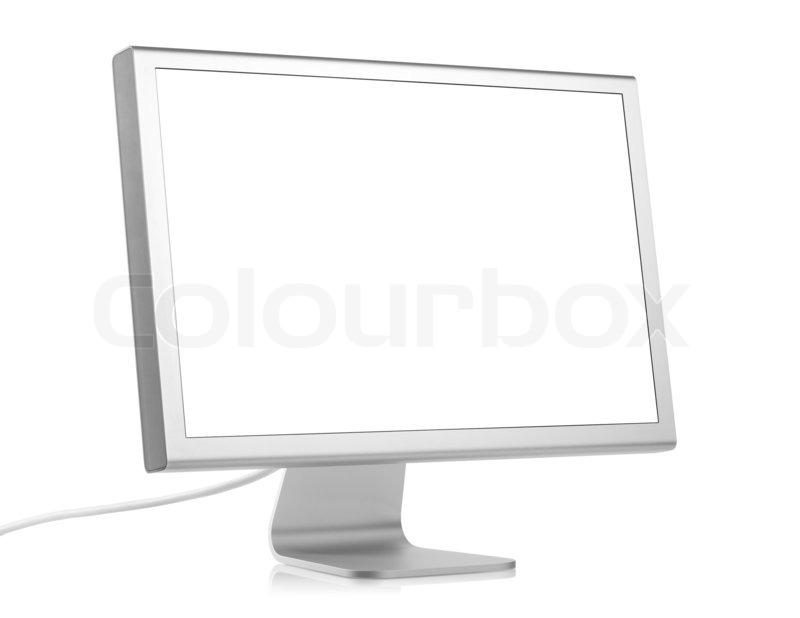 computer monitor mit leeren bildschirm auf wei em. Black Bedroom Furniture Sets. Home Design Ideas
