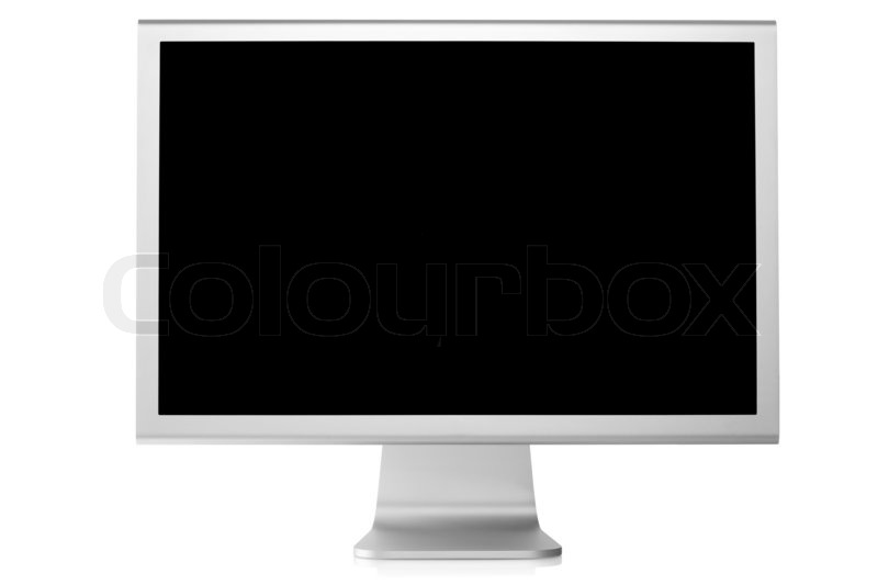 Computer Monitor with black screen Front view, isolated on ...