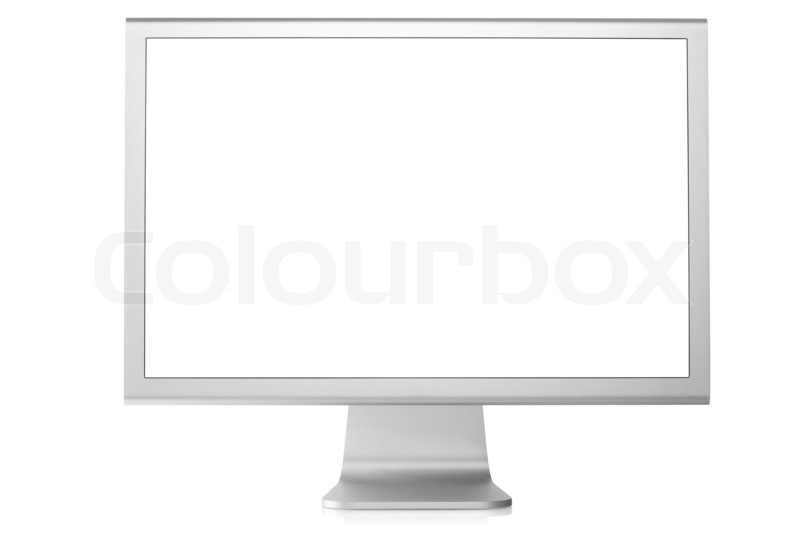 Stock bild von computer monitor mit leeren weißen bildschirm auf