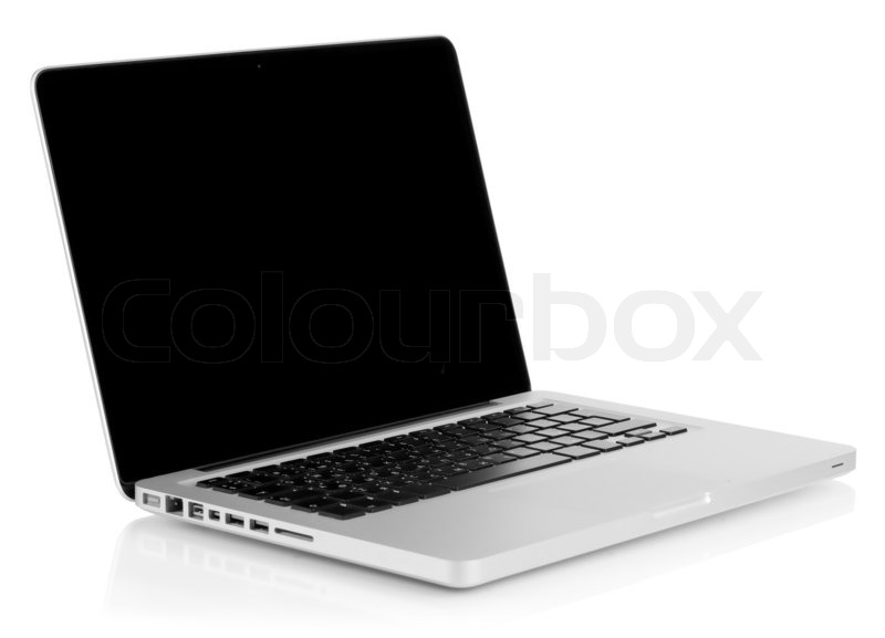 aluminum laptop with black screen isolated on white