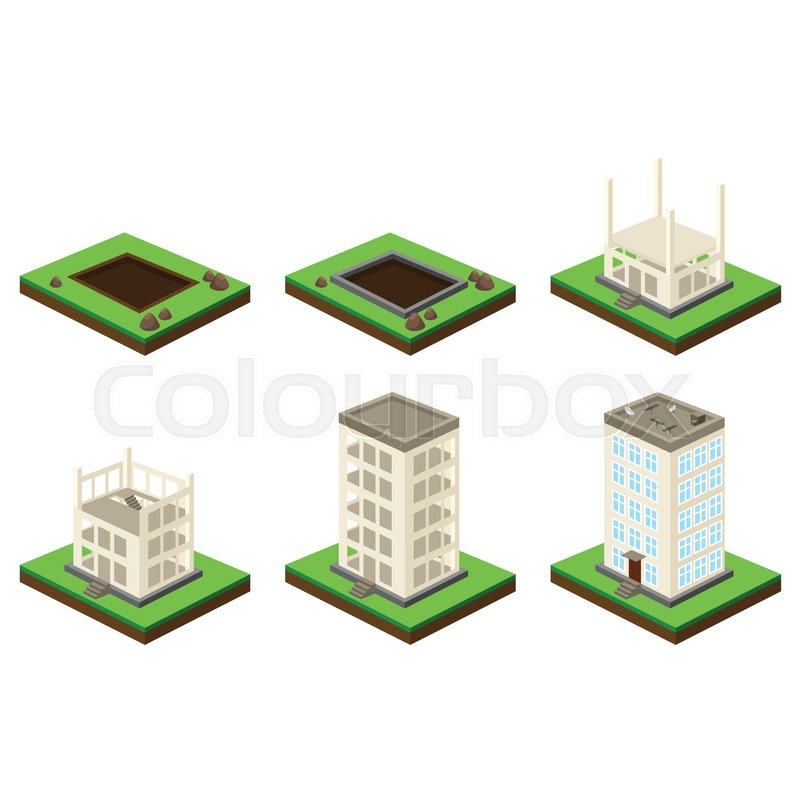 skyscraper building process isometric illustration of