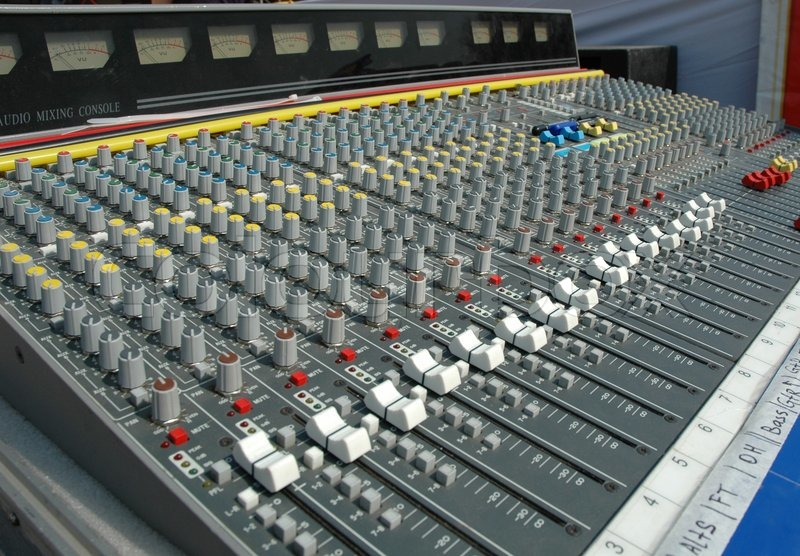 audio mixing console in a recording studio faders and knobs of a sound mixer stock photo. Black Bedroom Furniture Sets. Home Design Ideas