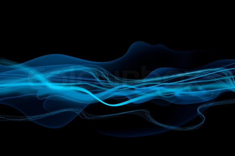 Abstract Black And Blue Waves Smoke Background Texture