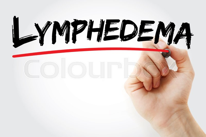 Hand writing Lymphedema with marker, ...