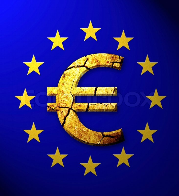 Cracked Euro Symbol In European Flag Stock Photo Colourbox