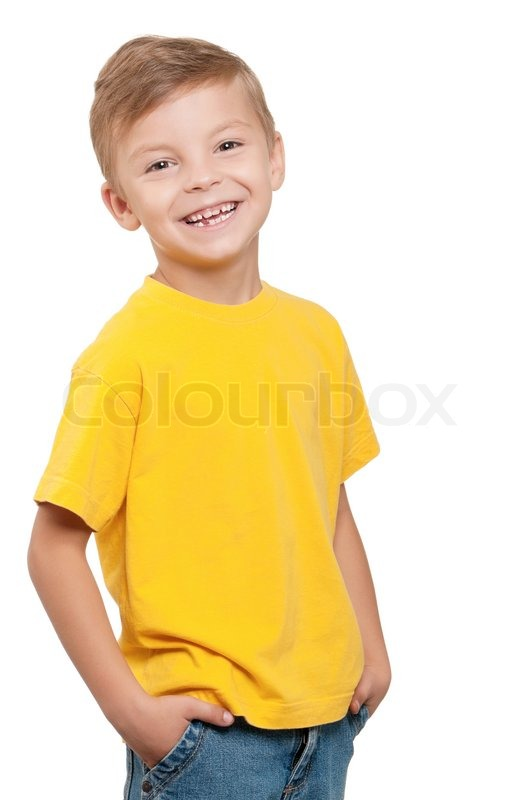 4 Year Boy Bedroom Decorating Ideas: Portrait Of Happy Little Boy Over White Background
