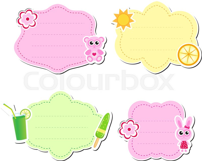 Cute kids frame for text, isolated on white background. Children s ...