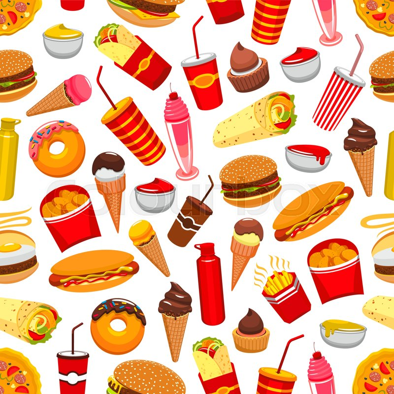 fast food background seamless pattern with vector flat