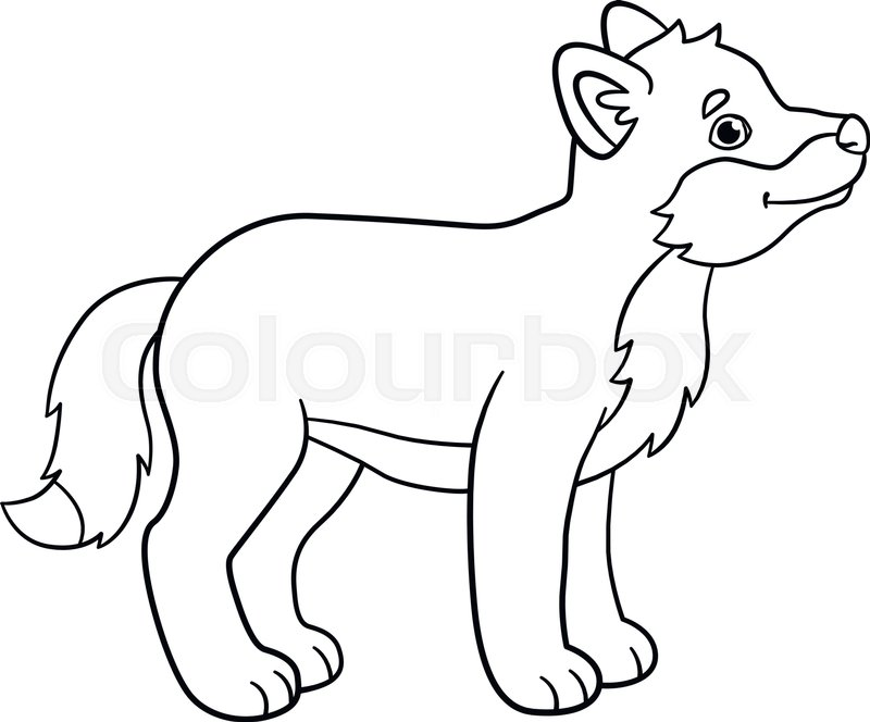 Coloring pages. Little cute baby wolf ... | Stock vector ...
