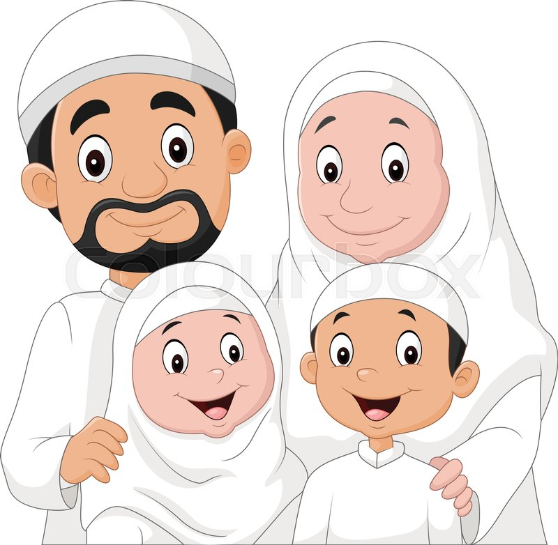 Vector Illustration Of Muslim Family Cartoon Stock
