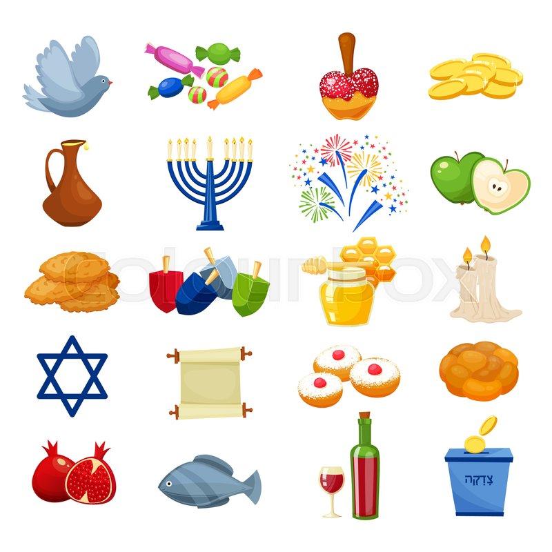 Various Symbols And Items Of Hanukkah Celebration Icons Set Jewish