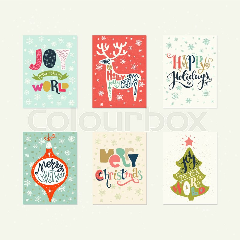 Collection of handdrawn Christmas card templates. Hand lettering ...