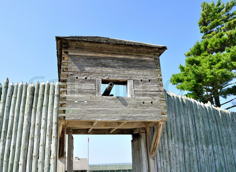 View of old wooden fort with cannon stock photo colourbox for Old wooden forts