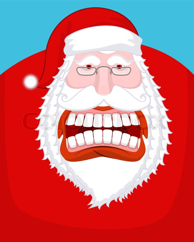 Santa claus wild grin aggressive old man open your mouth
