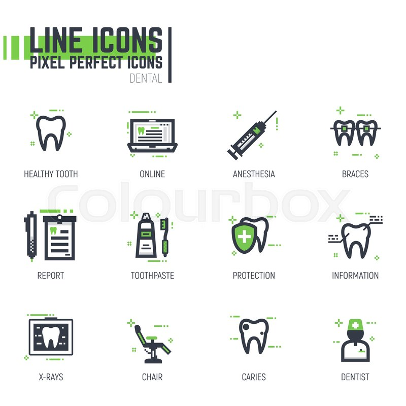 Set Of Pixel Thick Line Style Dental Care Icons Dentist Services Tools And Tooth Black Green Colors With Abstract Lines Dots For Web