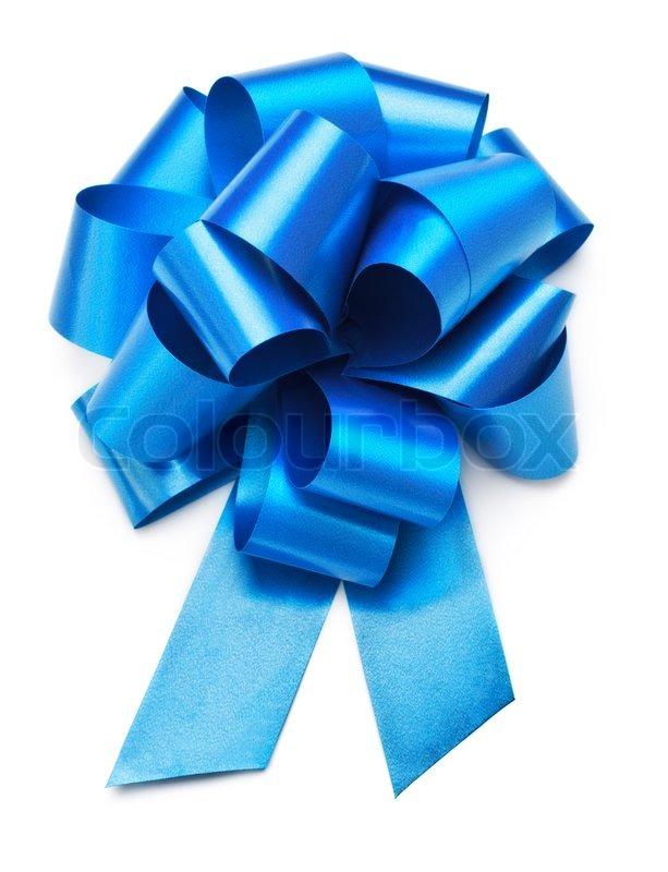 Single blue bow isolated on white background