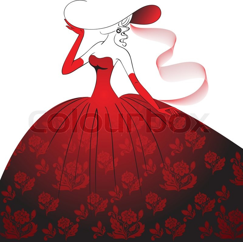 Dress on Stock Vector Of  Lady In Red Evening Dress