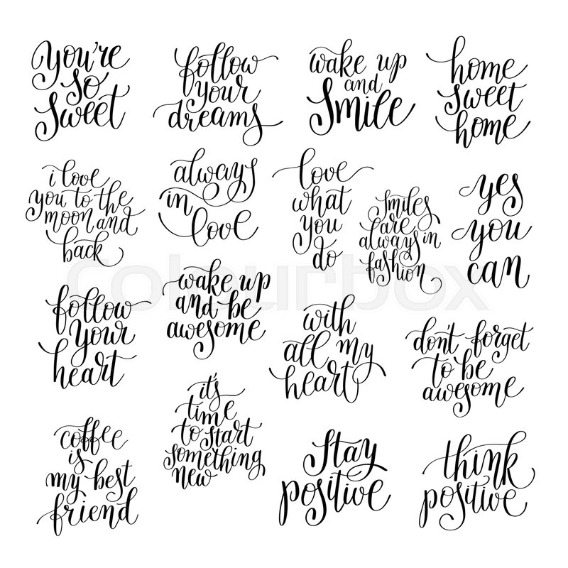 Set Of Handwritten Positive Inspirational Quotes Brush Typography To Enchanting Positive Inspirational Quotes