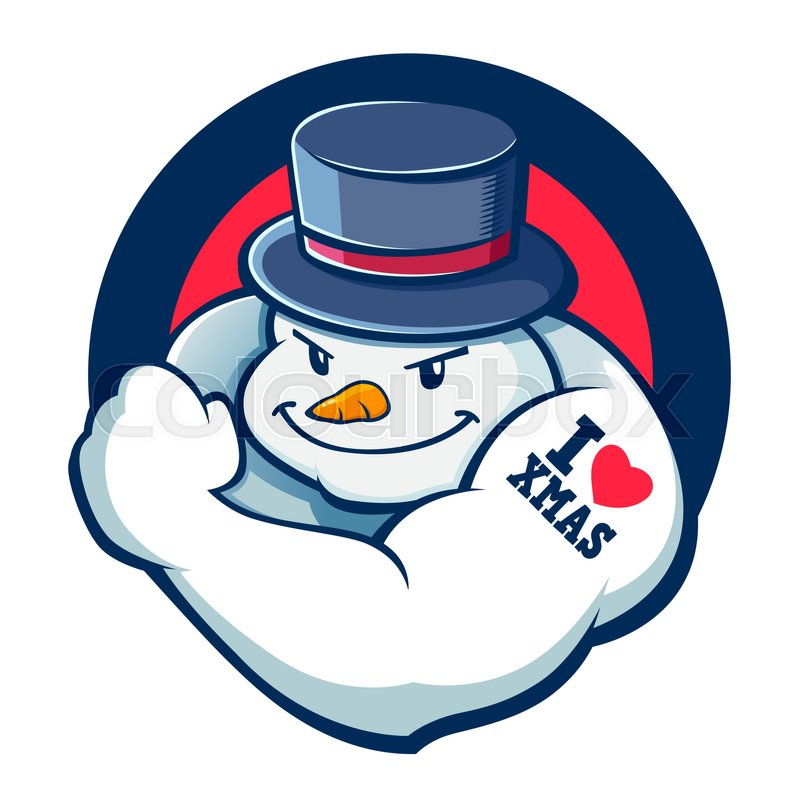 Vector Stock Of Strong Snowman With Muscle, Christmas Icon