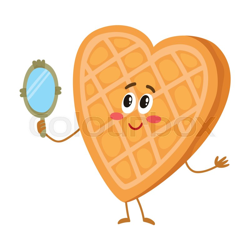 Cute and funny waffle, wafer character looking into ... Cartoon Waffle With Face