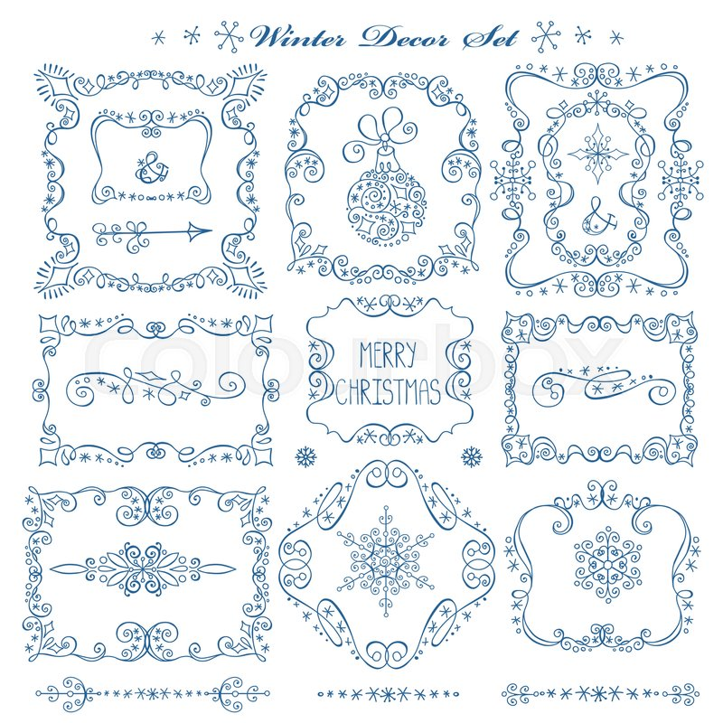 christmasnew year decor elements set vintage wextor framesbordersdoodles snowflakesswirlsfor design templatesinvitationsa and wedding
