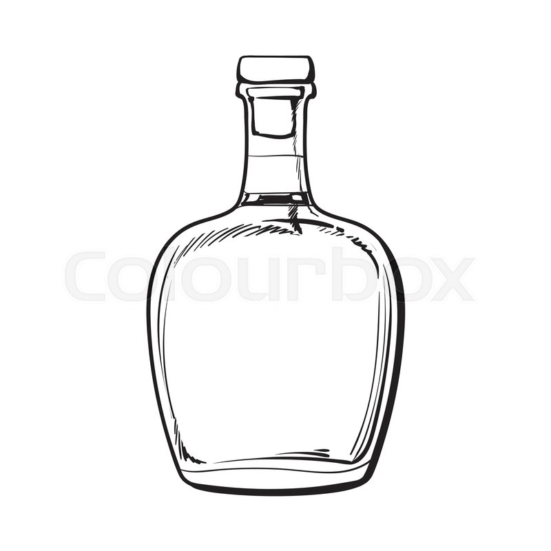 full jamaican rum bellied bottle sketch style vector illustration