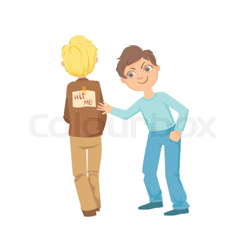 boy pinning joke poster on another ... | stock vector | colourbox  colourbox