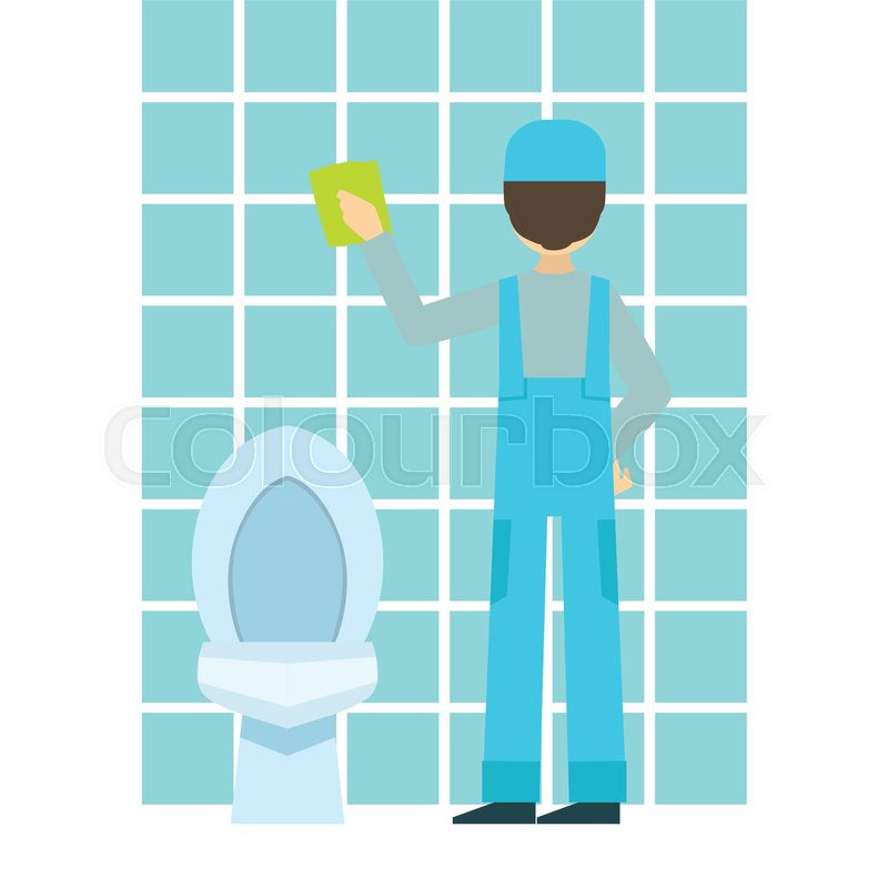 Man Washing Tiles In Bathroom Cleaning Service Professional Cleaner - Bathroom cleaner person