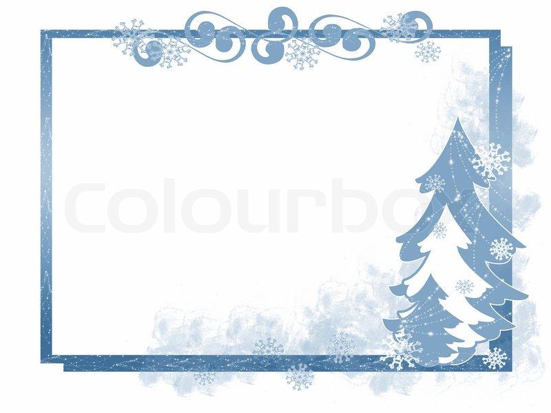 Winter- Themen- blauer Rahmen mit Weihnachtsbäumen und Schneeflocken ...