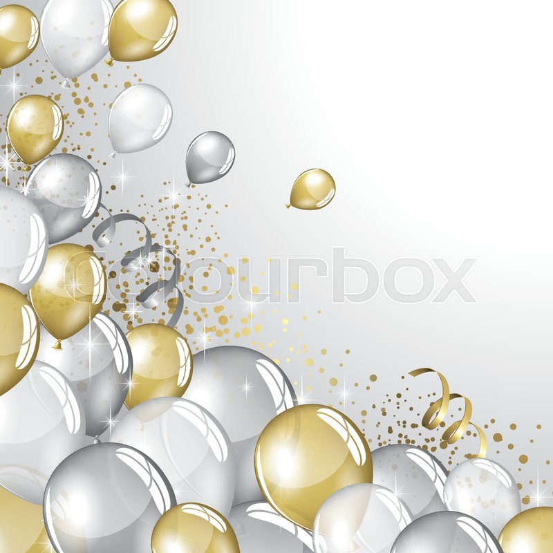 Silver and gold balloons and glitter festive background for Silver cloud balloons