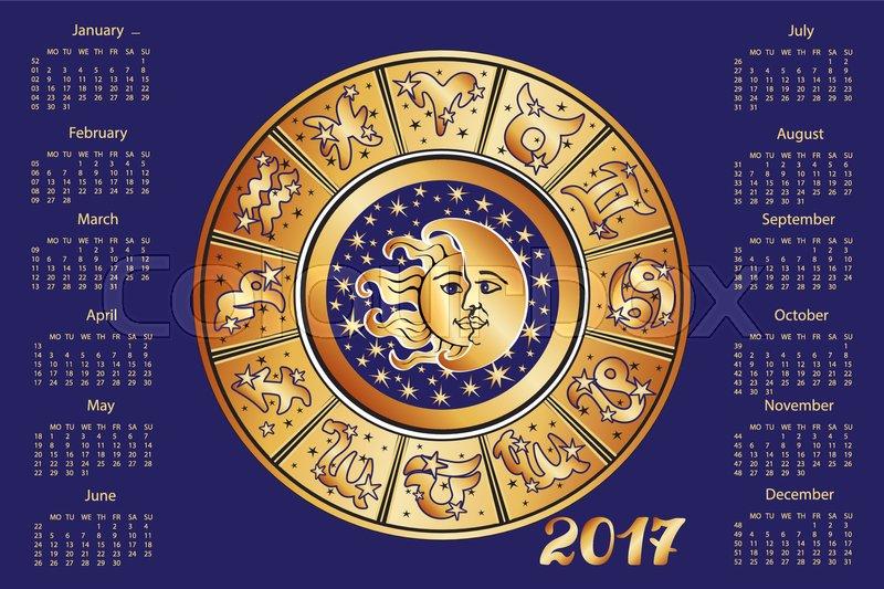 2017 New Year Calendarhoroscope Circle With Zodiac Sign