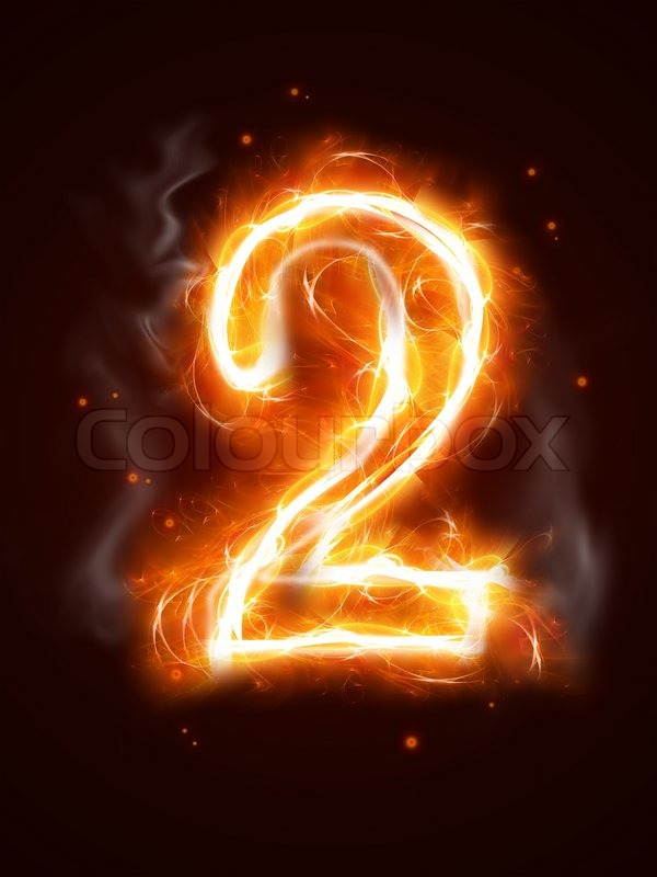 Number Plate Suppliers >> Fiery number 2 - one of the collection | Stock Photo | Colourbox