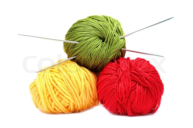 2299814 587357 three balls of wool with knitting needles isolated on white background Wool For Knitting