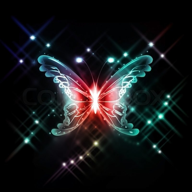 Abstract glowing butterfly on a dark background   Stock ...