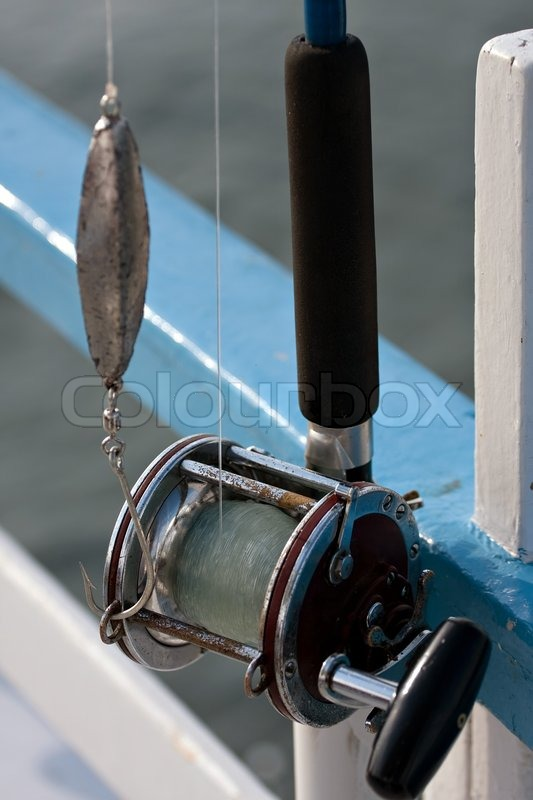 Close Up Detail Of A Bait Casting Deep Sea Fishing Reel